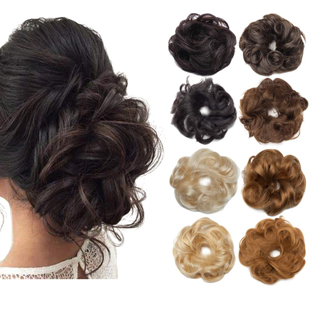 Real Hair Updo Hair Pieces Messy Bun Scrunchie Hairpiece Human Hair Scrunchy for Women Wavy Elegant Chignons Hair Bun Extensions Bridal Wedding Chignons UP DO Ballet Bun 2PCS 46g #04 Medium Brown
