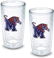 Tervis 1005945 Memphis University Emblem Tumbler, Set of 2, 16 oz, Clear