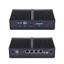 Qotom-Q355G4 Small Fanless Mini PC with 4 Ethernet LAN Support AES-NI Intel Core i5 5200U Computer (2G RAM + 16G SSD)
