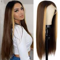 Nnzes Long Straight Brown T-part Lace Front Wig Omber Black to Brown Synthitic Highlight Wigs for Women Middle Part Glueless Heat Resistant Fiber Hair 26 Inch Natural Looking Ombre Straight Wig with Dark Roots for Daily