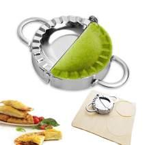 "Dumpling Maker - Dumpling Press, 304 Stainless Steel Empanada Press, Easy-tool for Dumpling Wrapper Dough Stamp Cutter Pastry Pie Making By JY COOKMENT (9.5cm/3.75"" Large)"