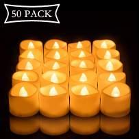 Beichi Set of 50 Battery Tealights Bulk, Bright Warm Yellow Flickering Bulb Battery Operated Flameless LED Tea Light for Seasonal & Festival Celebration