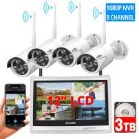 """[8CH Expandable] Hiseeu All in one with 12"""" LCD Monitor Wireless Security Camera System, Home Business 8CH 1080P NVR Kit 4pcs 2MP Outdoor Bullet IP Cameras Night Vision Waterproof,3TB Hard Drive"""
