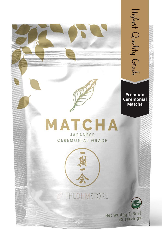 100% Organic Ceremonial Matcha Green Tea Powder by The Ohm Store — USDA Certified Organic Blend, Premium Ceremonial Grade, Pure Japanese Matcha Tea, Unsweetened and Vegan — 42g, 42 Servings