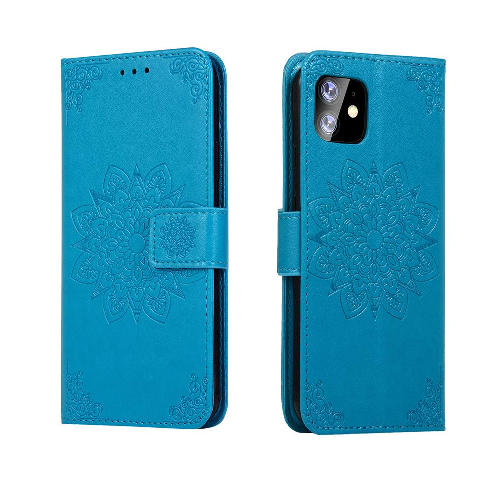 MEUPZZK iPhone 11 6.1 inch Wallet Case, 3D Mandala Flowers Embossed Premium PU Leather Kickstand Flip Phone Cover Card Holders & Hand Strap Wallet Case for iPhone 11 6.1 Inch 2019 Sky Blue