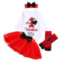 My First Valentine's Day Newborn Baby Girls Clothes Romper Top Bow Tutu Short Skirt with Headband Dress Outfit Set