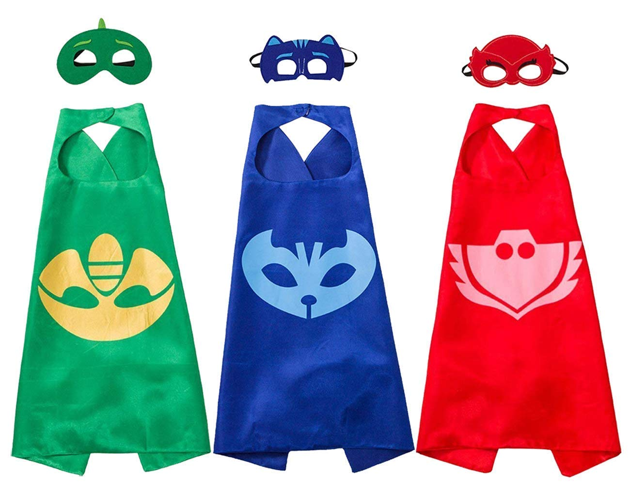 NuGeriAZ Costumes and Dress up for Kids - Compatible Superhero Toys Halloween Capes and Masks (3 pcs) Red