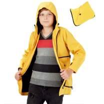 KID1234 Boys Lightweight Hooded Packable Jacket Windbreaker Coat