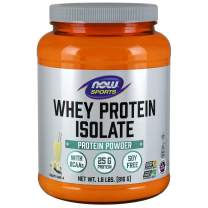 NOW Sports Nutrition, Whey Protein Isolate, 25 G With BCAAs, Creamy Vanilla Powder, 1.8-Pound