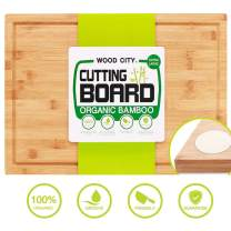 "Wooden Cutting Board, WOOD CITY Extra Large 18x12"" Bamboo Chopping Board for Kitchen, Butcher Block for Meat Cheese and Vegetables, Organic Serving Tray with Juice Groove and Anti-slip Pads"