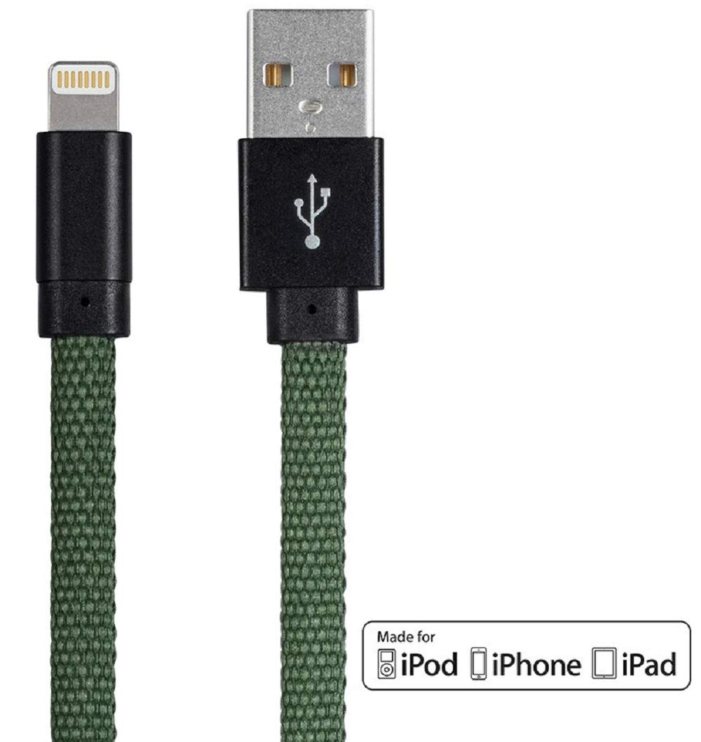 Monoprice Shoe String Apple MFi Certified Lightning to USB Charge & Sync Cable - 1.5 Feet - Green Compatible with iPhone X 8 8 Plus 7 7 Plus 6s 6 SE 5s, iPad, Pro, Air 2