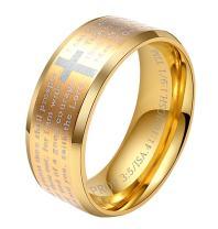 ALEXTINA 8MM Men's Stainless Steel Bible Verse Christian Lord's Prayer Cross Ring Wedding Bands Laser Engraved
