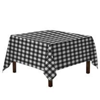 Vedouci Checkered Square Tablecloth - Stain Resistant, Waterproof and Wrinkle Resistant Washable Table Cloth for Dining Room, 120 x 120 Inch,Black and White Gingham Pattern