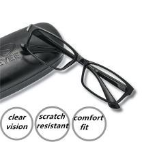 EyeYee Reading Glasses +3.00 Black- Rectangle Full Rim Anti Reflective Mens Womens Eyeglasses Readers Comfortable Stylish Glasses