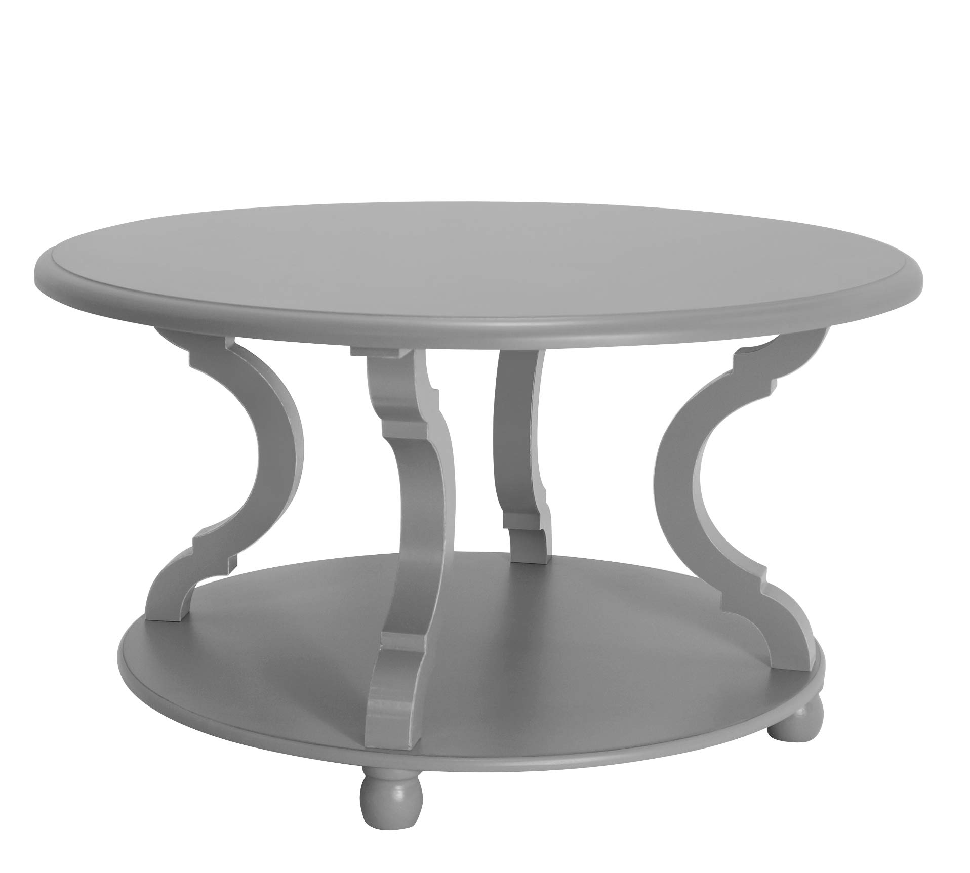 FINECASA Wood Coffee Table,Round Coffee Table Living Room, Round Cocktail Table with Storage, Sofa Table with Shelf, 31.0x18.3 Inches, Accent Tables with Carved Legs for Living Room, Gray