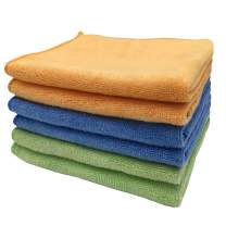 """Microfiber Cleaning Cloths Softer Highly Absorbent Reusable 16""""x12"""" Pack of 6 (Green Blue Orange) Lint Free Streak Free for House Kitchen Car Glass Stainless Steel Window"""