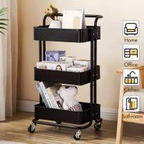MTFY 3-Tier Utility Rolling Cart Mobile Storage Organizer Shelving Tower Rack, Office File Cart, Kitchen Storage Utility Cart on Wheels for Office, Kitchen, Living Room, Bedroom, Bathroom