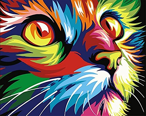 Komking DIY Paint by Numbers for Adults, Paint by Number Kits for Kids Beginner on Canvas Painting, Colorful Cat 16x20inch