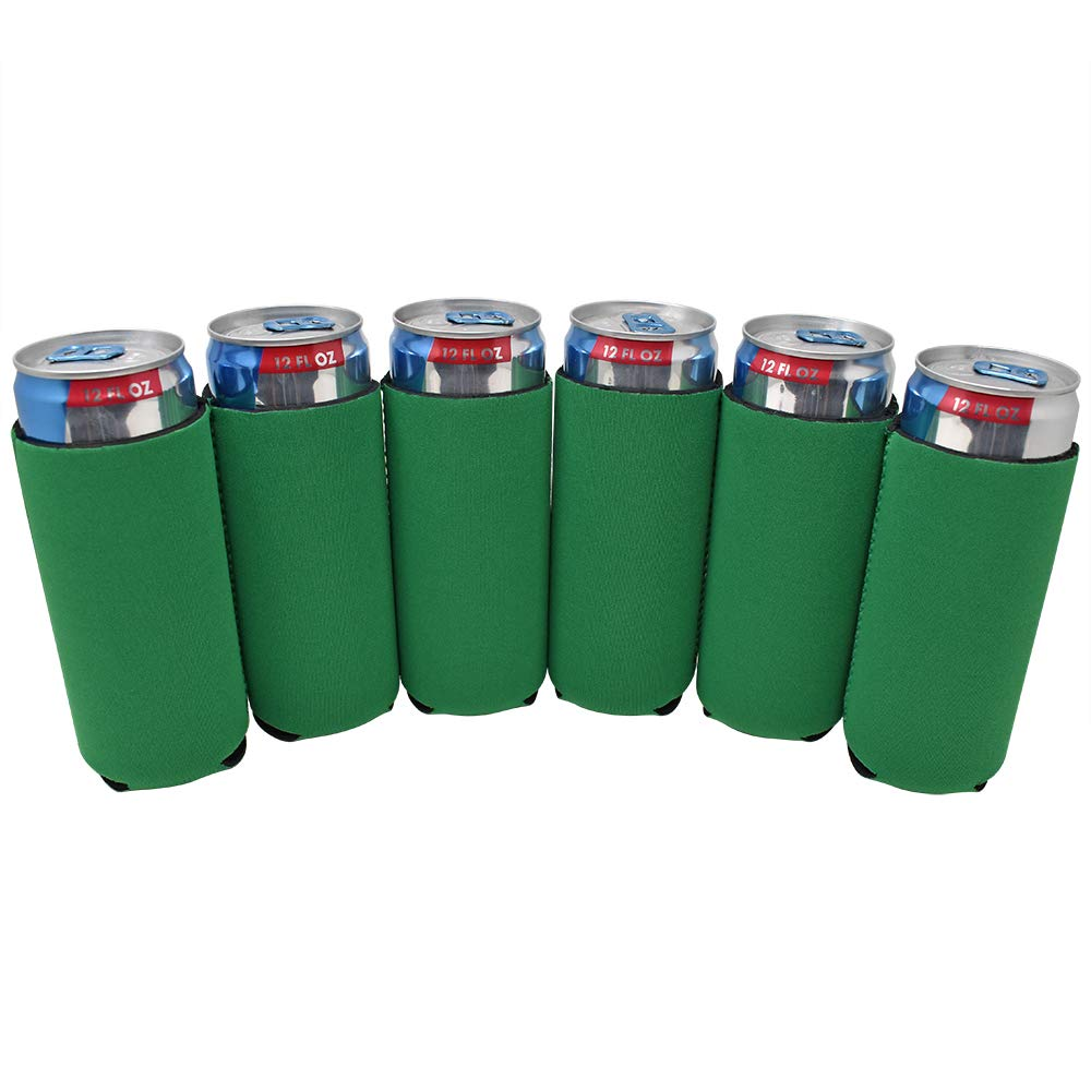 TahoeBay 12 Slim Can Sleeves - Blank Neoprene Beer Coolers – Compatible with 12oz RedBull, Michelob Ultra, White Claw Spiked Seltzer (Kelly Green, 12)