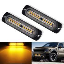 Amber Strobe Lights Flush Mount Grille Light Head Surface 2PC Pack 12W Bright LED Mini Emergency Warning Light Bar for Construction Tow Truck Van and Utility Vehicle (Amber Strobe 12)