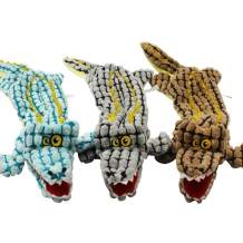 Dog Squeaky Plush Toys 3 Pack, Crinkle Plush Crocodile Dog Toys No Stuffing, Dog Chew Toy for Puppy Medium and Large Dogs Squeak Toys
