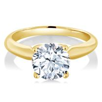 Gem Stone King 2.00 Ct Round White Zirconia 925 Yellow Gold Plated Silver Women Solitaire Engagement Ring (Available in size 5, 6, 7, 8, 9)