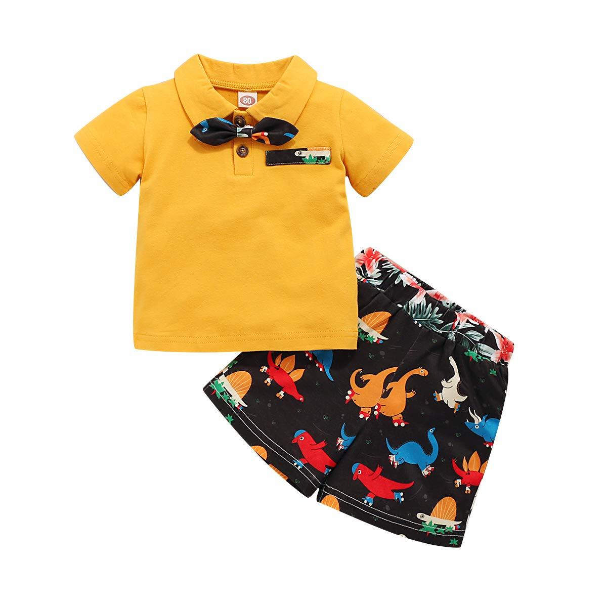 bilison Baby Boy Summer Clothes Button Bowtie Short Sleeves Tops + Camouflage Pants 2Pcs Outfit Set
