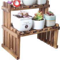 "WINGOFFLY 2 Tier Tabletop Wooden Plant Stand Decorative Planter Holder Desktop Flower Pot Shelf Rack for Office Home 11.8""L x 8.25""W x 11.8""H(Carbonized Color)"