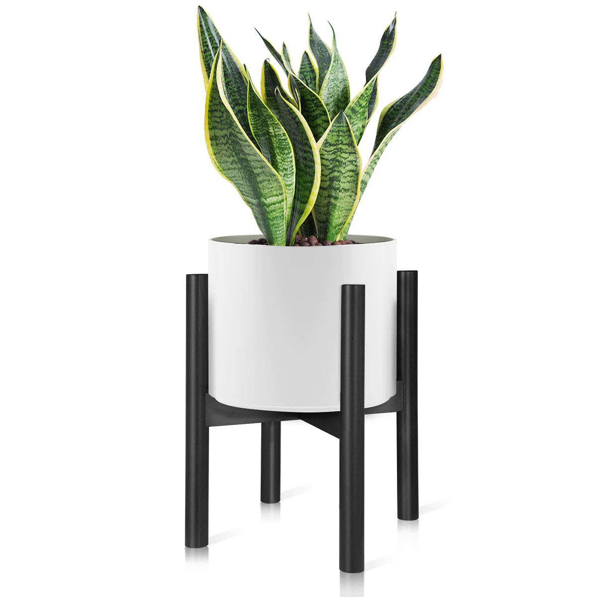 Homemaxs Plant Stands Indoor, Mid Century Plant Holder Indoor Display Stand - Unique Adjustable Feet Design,10 Inch Modern Tall Plant Stand Bamboo Plant Display Rack -Black