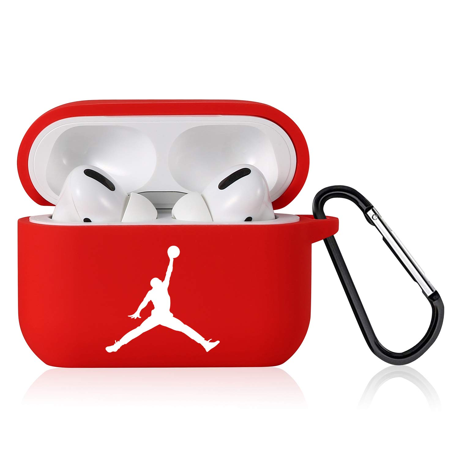 Punswan for Airpods Pro Case,Cute 3D Luxury Character Soft Silicone Stylish Cover, Sport Fun Cool Keychain Style Design Skin,Cases with Lanyard Chain,for Girls Kids Boys Men Air pods Pro/3 (Red Jorda)