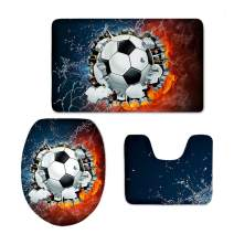Flannel Washable Bath Rug Toilet Contour Mat Lid Cover 3 Pcs/Set with Fire Water Soccer Printing CHAQLIN