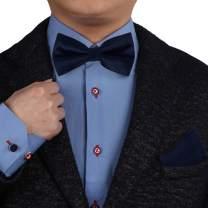 Epoint Men's Fashion Multicolored Soild Silk Pre-tied Bowtie Cufflinks Handky Set