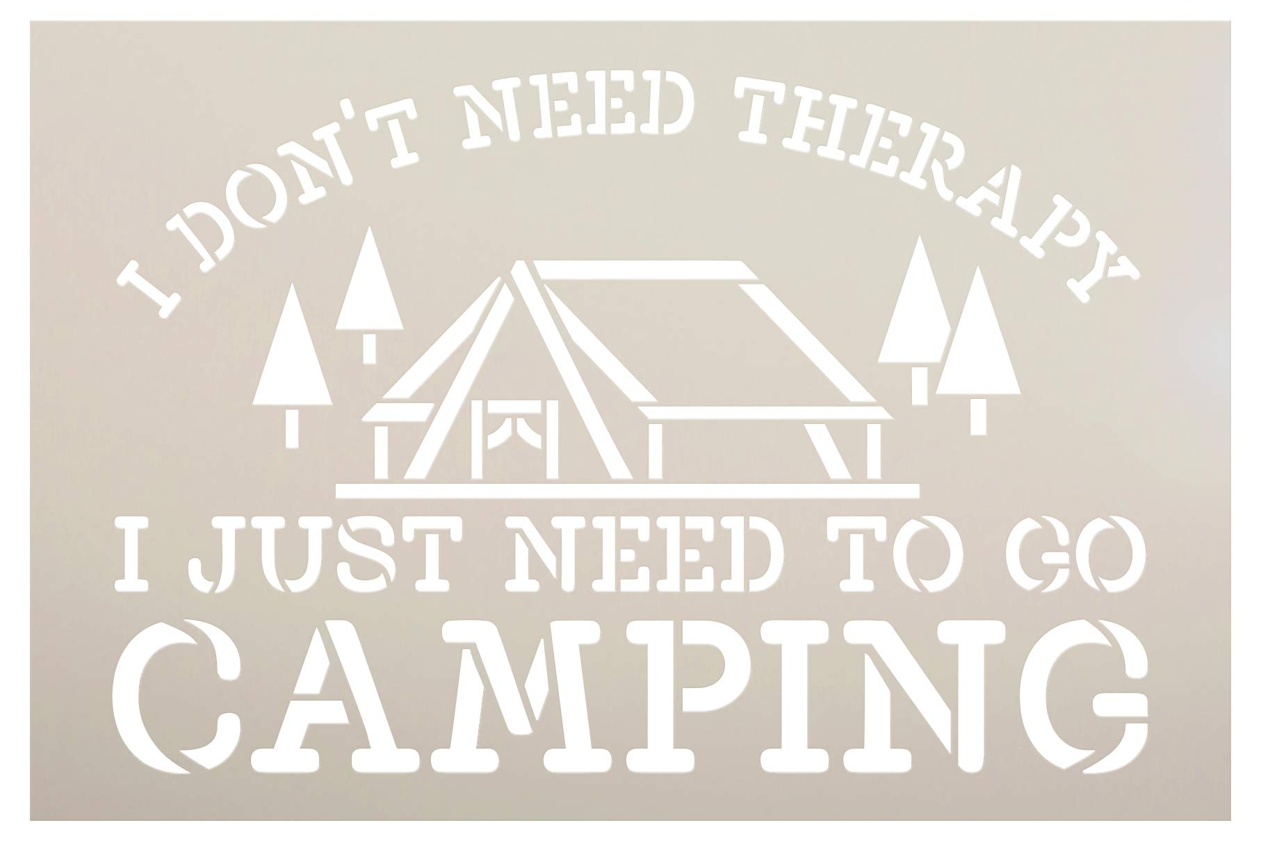 No Therapy Just Camping Stencil with Tent by StudioR12 | DIY Country Rustic Home Decor | Camping Adventure Word Art | Craft & Paint Wood Sign | Reusable Mylar Template | Select Size (9 x 6 inch)