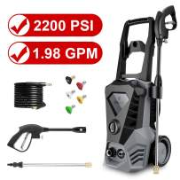 Electric Pressure Washer 2200 PSI 1.98 GPM Power Washer Cleaner Machine with Hose Spray Gun, 5 Nozzles, Detergent Tank for Cleaning Car, Floor, Patio, Garden