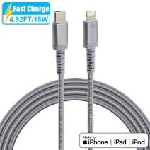 USB C to Lightning Cable,IC ICLOVER (Apple MFI Certified) Type C PD Fast Charging Syncing Cord for iPhone 11/PRO/X/XS MAX,MacBook 2016/2018 Release,iPad,Other iOS Devices (4.9ft Gray Braided)