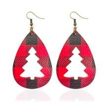 LNKRE JEWELRY Leather Earrings for Women Multilayer Sparkle Leaf Drop Dangle Buffalo Plaid Print Earrings Layered Teardrop Christmas Earrings Gifts