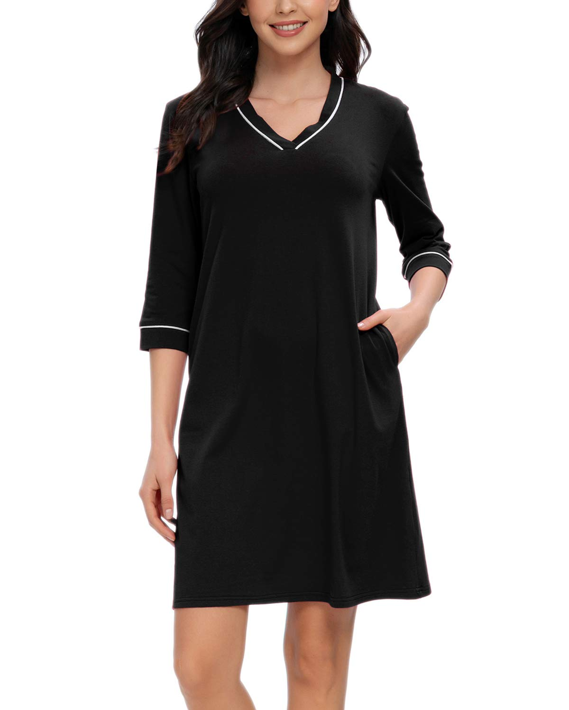 MINTLIMIT Night Shirts Women Nightgowns Sleep Shirts V Neck 3/4 Sleeve Sleepwear Soft Nightshirt with Pockets