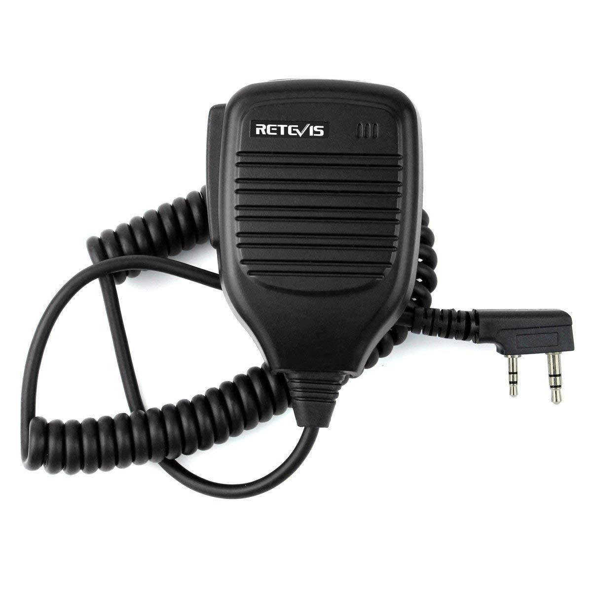 Retevis Shoulder Speaker Mic 2 Pin Two Way Radio Micphone for Baofeng UV-5R UV-82 888S Retevis H-777 RT21 RT22 RT27 Arcshell AR-5 2 Way Radio(1 Pack)