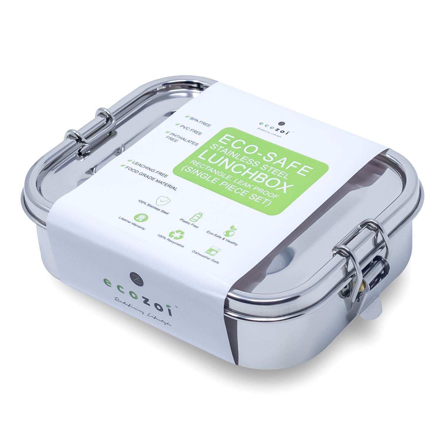 Ecozoi LEAK PROOF Stainless Steel 1-Tier Eco Lunch Box Metal Bento Box   BONUS POD and REDESIGNED Silicone Seal   Sustainable Zero Waste Eco Friendly Food Storage Container