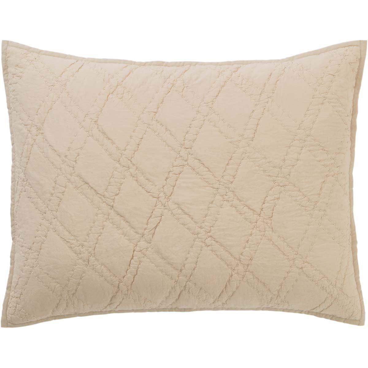 VHC Brands Farmhouse Bedding - Casey Grey Sham, Standard, Taupe