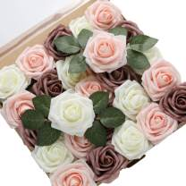 DerBlue 60pcs Artificial Roses Flowers Real Looking Fake Roses Roses Decoration DIY for Wedding Bouquets,Arrangements Party Baby Shower Home Decorations (3.1 inches, Cream&Blush&Dusty Rose)