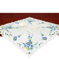 Simhomsen Small Spring Butterfly and Floral Tablecloths Toppers, Tablecovers for End Table, Tea Table, Coffee Table and Nightstand, Blue Square 34 Inch