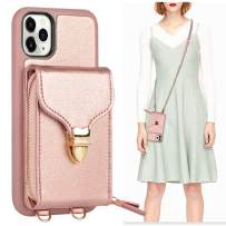 iPhone 11 Pro Wallet Case, JLFCH iPhone 11 Pro Crossbody Case with Zipper Card Slot Holder Wrist Strap Shoulder Chain Protective Cover for iPhone 11 Pro 5.8 inch - Rose Gold