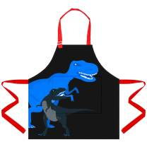 Sylfairy Aprons for Kids Girls Rainbow Unicorn Apron with Pockets Chef Aprons (Blue+Dinosaur, Small,3-5Years)