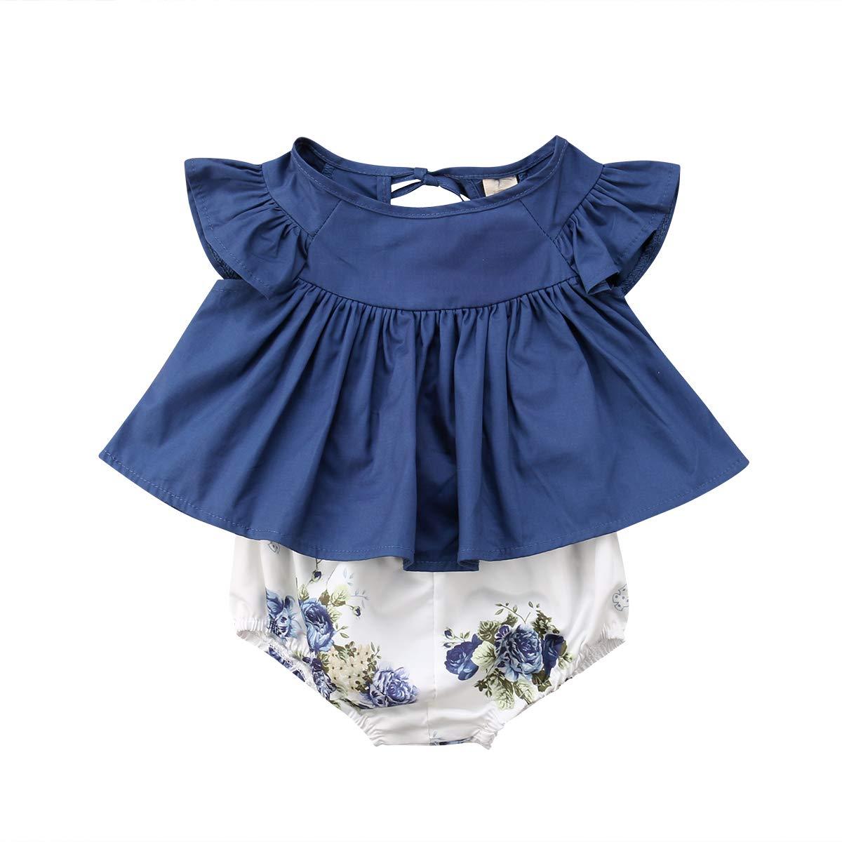 Newborn Baby Girls Clothes Ruffles Flutter Sleeve Denim Dress Tops Floral Shorts Pants Outfit Set