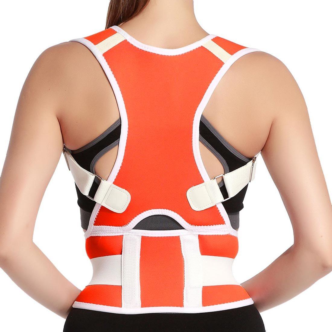 Back Support Belt, Comfort Posture Corrector Back Support Brace Adjustable Shoulder Bandage Corset Back Orthopedic Brace Scoliosis Posture Corrector Strap for Men Women Size XXL Orange