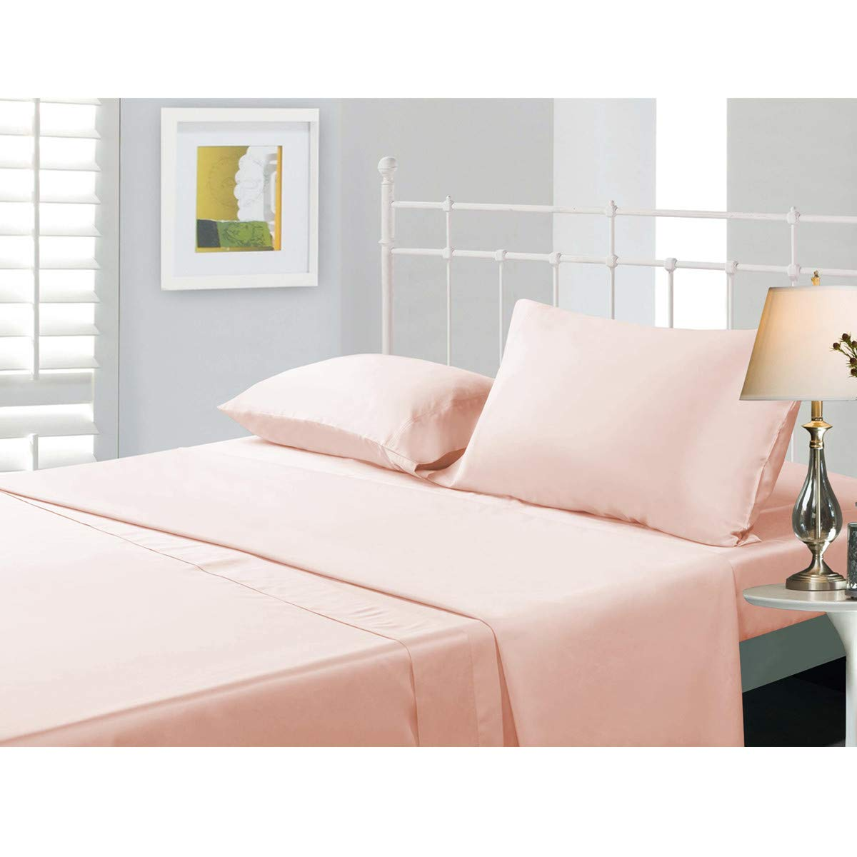 Naturefield Bamboo Sheets Set Cal King Pink 4 Piece Bamboo Cotton 15 Inch Deep Pocket Cozy Soft Breathable Wrinkle Free Flat Fitted Bedding Set For Home And Hotel
