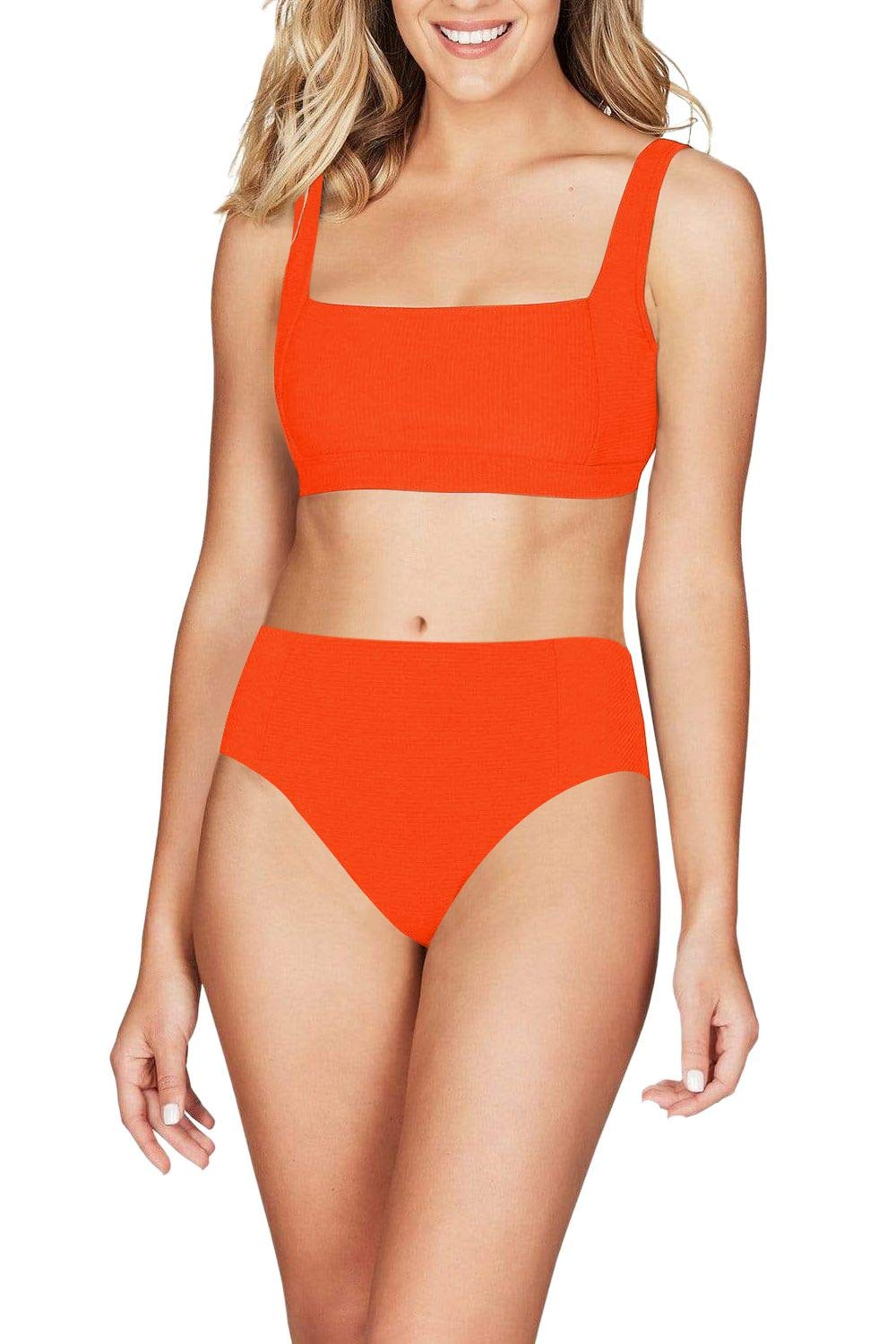 Viottiset Women's High Waisted Ribbed Square Neck Cheeky Bikini 2 Piece Swimsuit Sexy Wide Strap