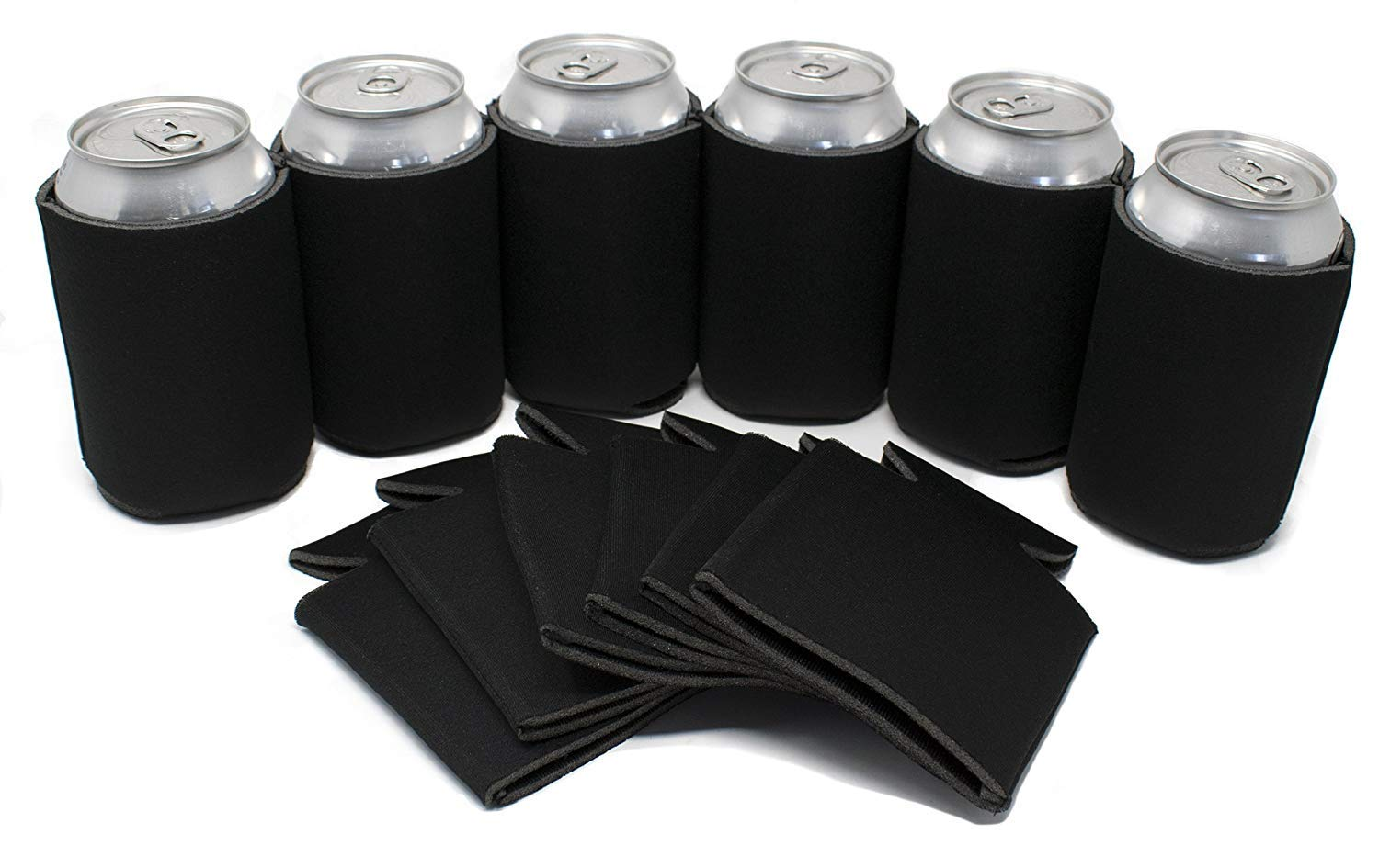 TahoeBay 12 Blank Beer Can Coolers, Plain Bulk Collapsible Soda Cover Coolies, DIY Personalized Sublimation Sleeves for Weddings, Bachelorette Parties, Funny HTV Party Favors (Black, 12)