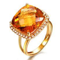 Fashion Women Yellow Citrine Gemstone Diamond Solid 14K Yellow Gold Natural Ring Settings Band Jewelry